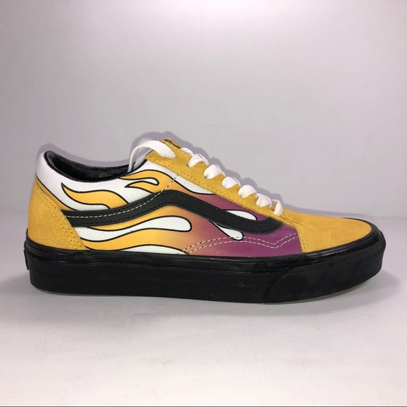 Vans Old Skool Flame Banana With Black Sole Shoes NWT
